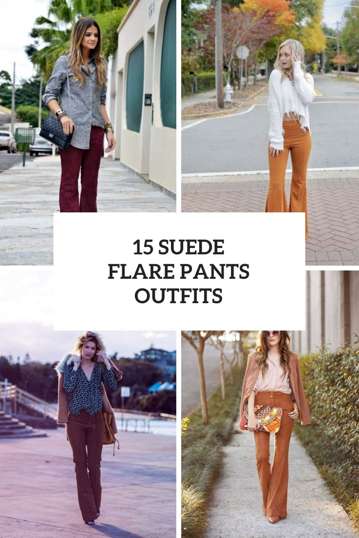 Outfits With Suede Flare Trousers