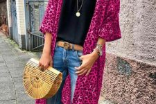 With black lace top, jeans, straw bag, brown belt and shoes