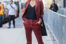 With black lace top, velvet blazer, cropped pants, black bag and mules