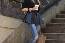 With black leather peplum shirt, brown tote bag and embellished shoes