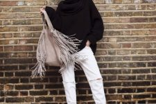 With black loose turtleneck, white loose distressed pants and black ankle boots