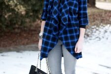 With black shirt, gray skinny pants, black chain strap bag and black ankle boots