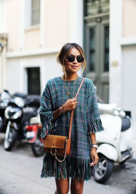 With brown suede and leather crossbody bag