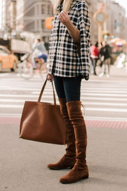 With checked jacket, skinny jeans and brown leather tote bag