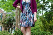 With floral dress and black platform shoes