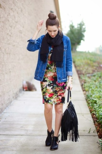 With floral knee length dress, denim jacket, black scarf and black cutout boots