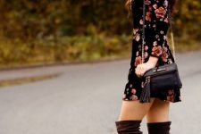 With floral mini dress, tassel bag and hat