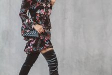 With floral ruffled dress and crossbody bag