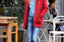 With floral shirt, red coat and black pumps