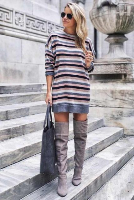 With gray suede over the knee boots and gray suede tote bag