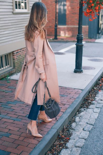 With jeans, beige pumps and gray bag