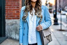 With jeans, light blue coat, gray bag and gray over the knee boots