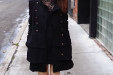 With lace shirt, mini skirt and black jacket