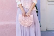 With lilac midi skirt, bag and lilac pumps