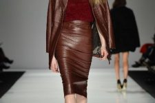 With marsala top and beige heeled shoes