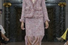 With pale pink blouse, tweed jacket and lace up shoes