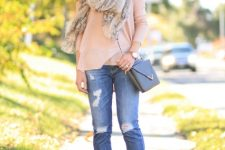 With pale pink loose blouse, printed scarf, chain strap bag and gray ankle boots
