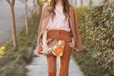 With pale pink shirt, printed clutch, brown suede blazer and brown leather boots