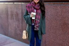 With plaid scarf, beige bag, cuffed jeans and gray suede ankle boots