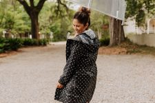 With polka dot hooded coat
