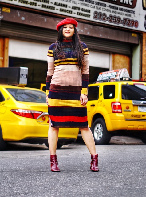 With red beret and marsala boots