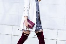 With striped mini dress, white long blazer and chain strap bag