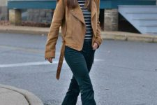 With striped shirt, brown suede jacket and black boots