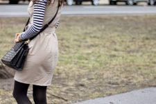 With striped shirt, polka dot bag and beige mini dress