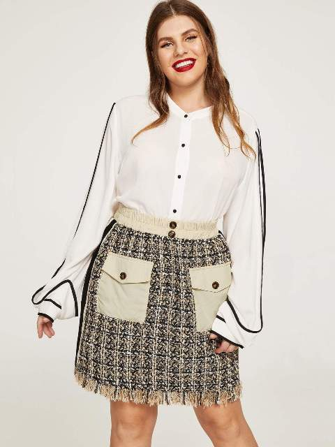 With white and black button down shirt