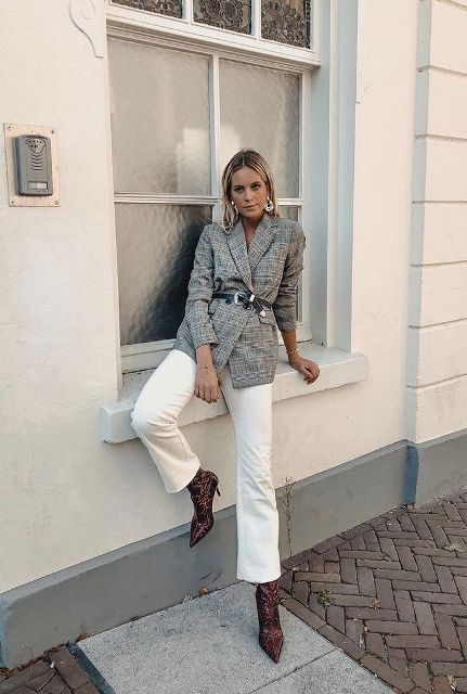 With white cropped pants and printed low heeled boots