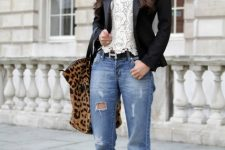 With white lace top, leopard printed tote bag, black blazer and black shoes