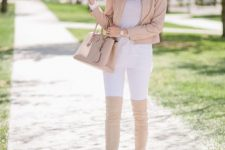 With white shirt, white trousers, beige bag and beige suede over the knee boots