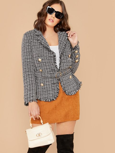 With white top, brown suede mini skirt, black over the knee boots and white mini bag