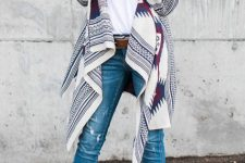 With white top, distressed skinny jeans and beige cutout boots