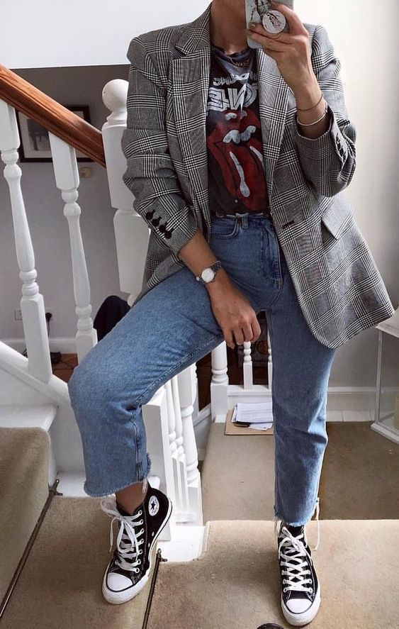 a black printed tee, a grey plaid blazer, blue jeans, black Converse sneakers for the fall