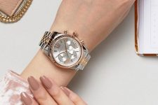 a bracelet watch in a mixed metal is a stylish idea as it features two trends – mixed metals and a bracelet