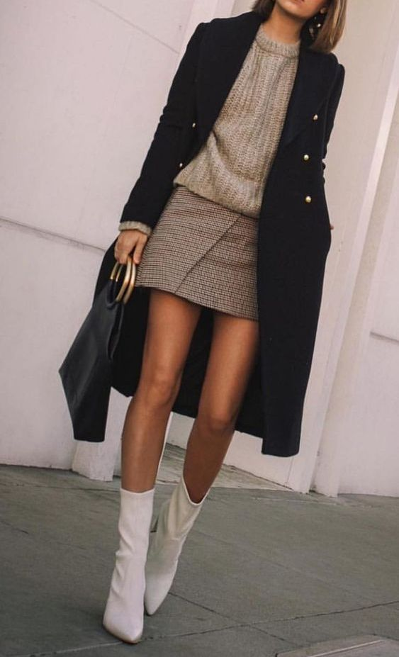 a grey chunky sweater, a plaid mini skirt, white booties, a black midi coat and a tote