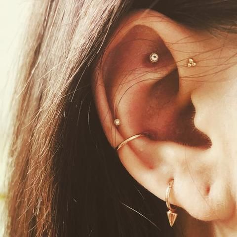 a hoop in the lobe, a hoop in the conch, a stud in the rook and helix and a stud in forward helix