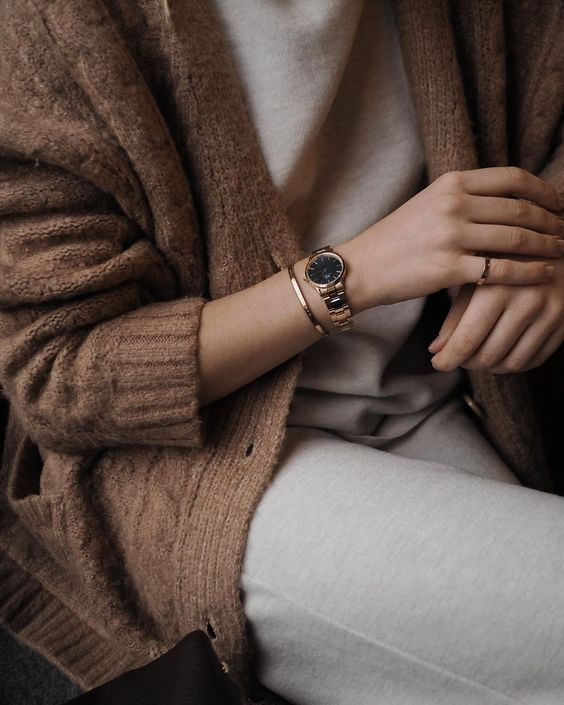 a rose gold bracelet watch, a rose gold thin bracelet and a matching ring   you won't need more to raise your outfit to a new level