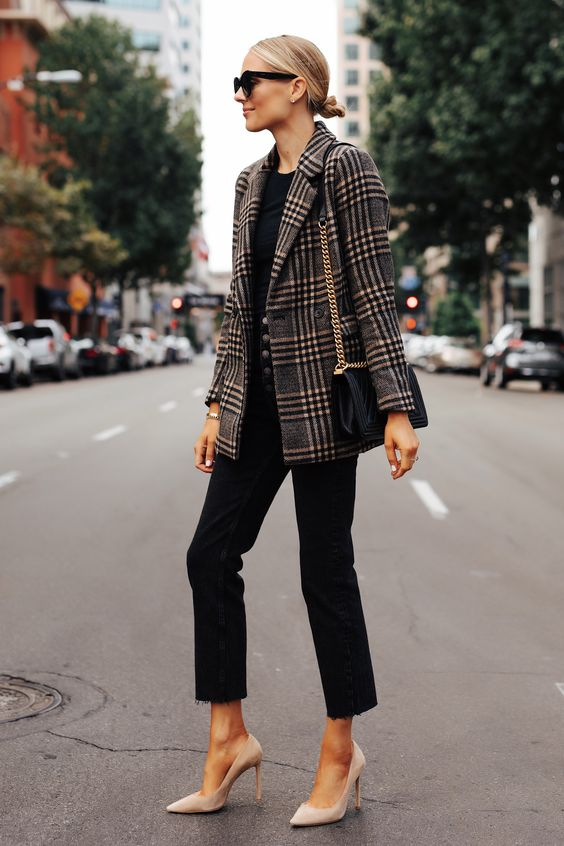 a simple look with a black tee, black high waisted jeans, a statement plaid blazer, nude heels and a black bag