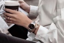 an elegant silver bracelet watch and a copper and silver bracelet for a stylish minimal stacked look
