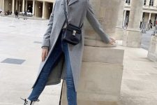 blue jeans, a grey coat, white combat boots and a black bag for the fall