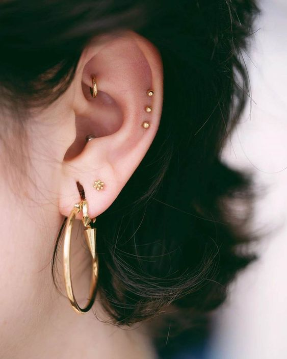 stylish piercings   a large hoop, shiny gold studs in the helix and a gold hoop in the rook