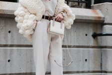 04 an elegant and chic fall look with a white top, pants, nude shoes, a creamy chunky knit cardigan and a white hat