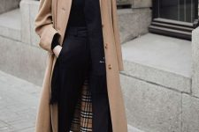 12 a fall work look with a black turtleneck, pants and booties, a tan coat, a black beret