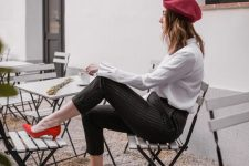 13 a fall office look with a white shirt, black striped pants, hot red shoes and a burgundy beret