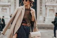 14 a refined fall look with a chunky sweater, a polka dot skirt, a creamy bag and a coat, a tan beret