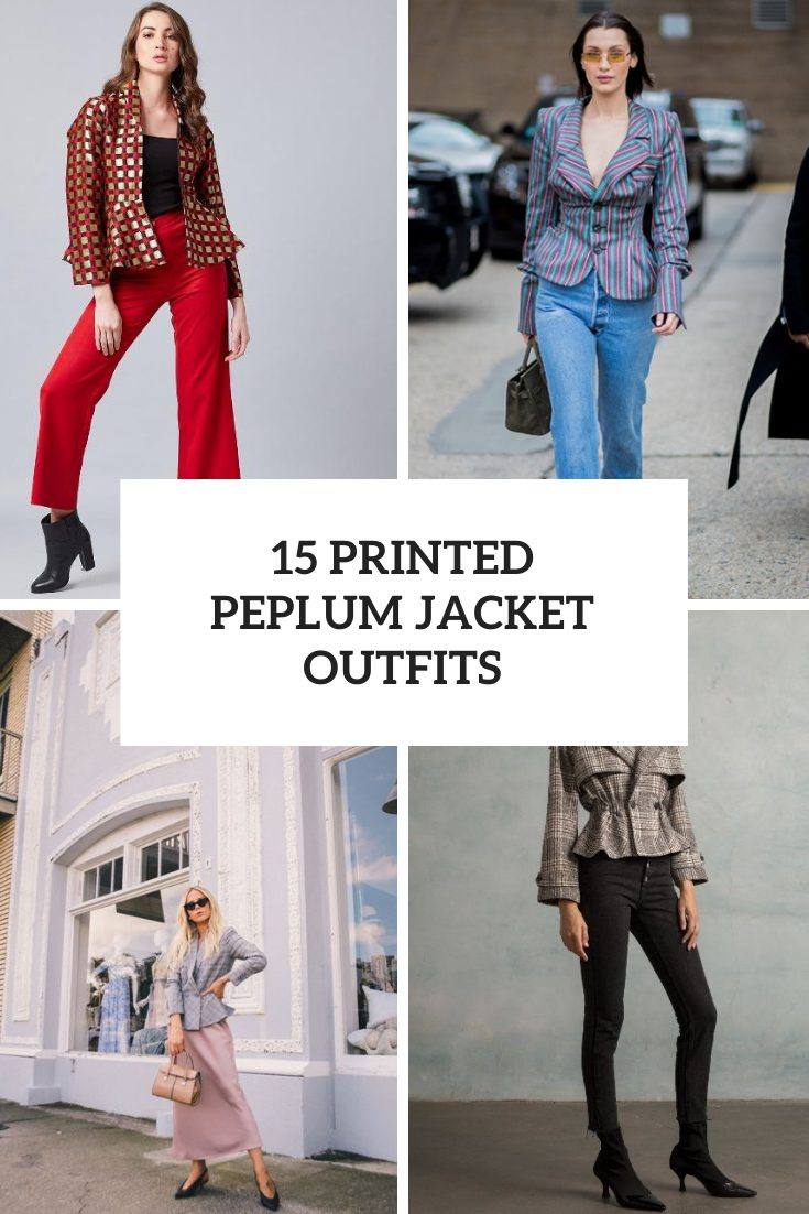 Women Outfits With Printed Peplum Jackets And Blazers