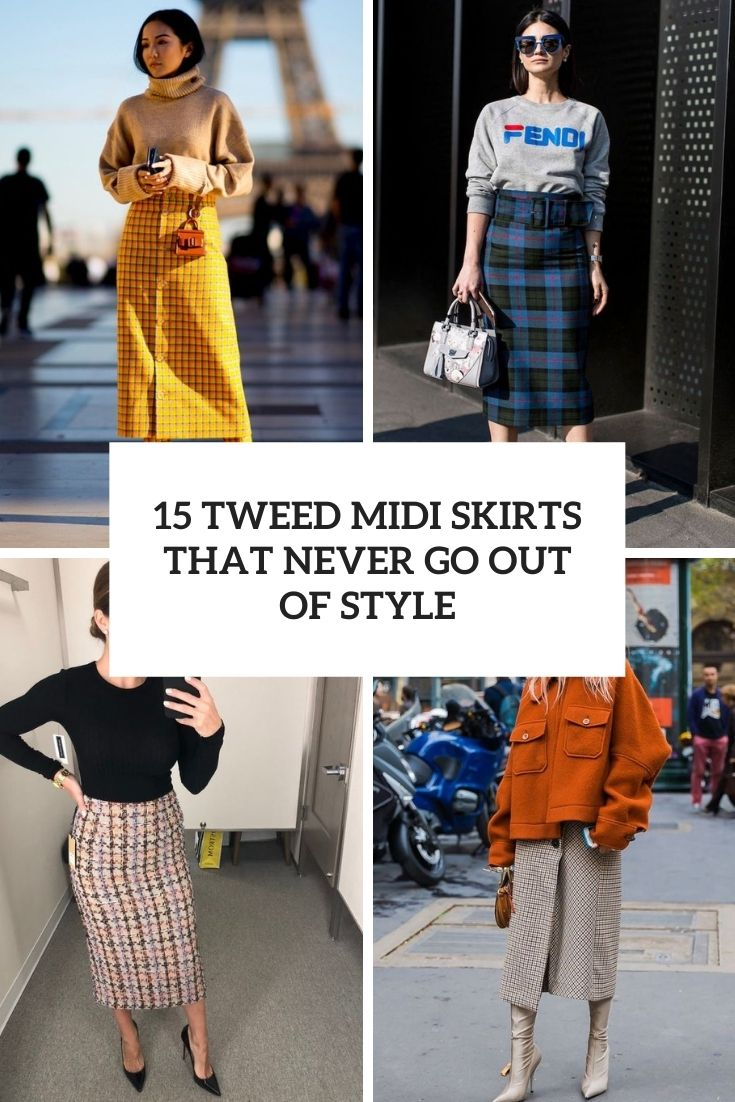 tweed midi skirts that never go out of style cover
