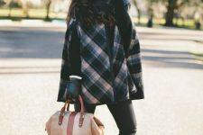 With black leather gloves, beige and brown tote bag, skinny pants and black high heeled ankle boots